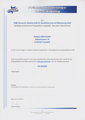 Präqualifizierung DQB Holzbau Böll GmbH